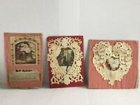 Antique Paper Scrap Valentine's Day Card Hand Made Ephemera Lot 3 Crepe & Lace