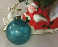 """Vintage Shiny Brite Unsilvered Hand-Blown Blue Glass Christmas Ball Ornament 3"""""""