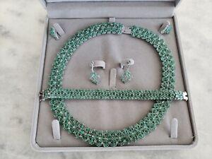 GENUINE MOZAMBIQUE EMERALD NECKLACE, BRACELET & 2 Sets of Earrings - Unqiue