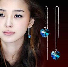 Long Pull Through Silver Dangle Earrings Blue Crystal Heart Love