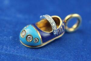Aaron Basha 18K Yellow Gold Diamond Strap Millennium Blue Enamel Shoe Charm