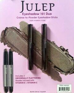 NEW JULEP 2 Pack Creme to Powder Eyeshadow 101 Stick TAUPE SHIMMER+STONE