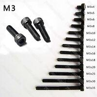 25/50/100pcs Black Steel Metric Thread M3 Hexagon Hex Socket Cap Head Screw Bolt