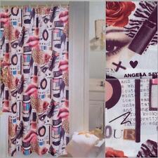"DIVA Fashionista Make Up Lipstick Roses Heels Fabric Shower Curtain 70"" x 72"""