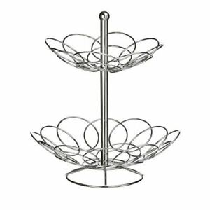 NEW 2 TIER CHROME FRUIT BASKET BOWL STAND HOLDER VEGETABLE RACK STAINLESS STEEL