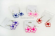FREE Wholesale lots 36Pairs polymer clay flowers dangle Silver tone earrings