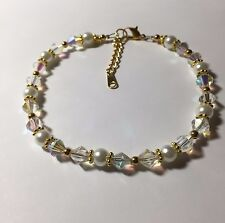 Pearl Gold Plated Bridal Ankle Bracelet Swarovski Elements Crystal Ab and White