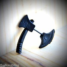 Gothic Punk Earring Black Metal Hatchet / Axe