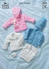 King Cole 2888 Knitting Pattern Baby Cardigans. Jacket, Slipover & Hat in DK