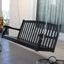 Classic Curved Back Slat Wood 5-Ft Porch Swing in Black Weather Resistant Wood