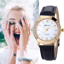 Fashion Women Ladies Diamond Analog Faux Leather Quartz Wrist Watch Watches