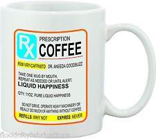 PRESCRIPTION COFFEE MUG CUP JOKE GAG FUNNY GIFT DRINKER MORNING MONDAY OFFICE