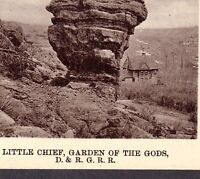 Colorado Springs Little Chief Residence Garden of God D&RGRR Railroad Stereoview