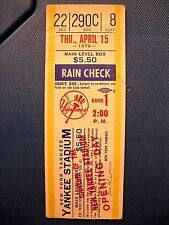 1976 OPENING DAY N.Y. YANKEES  TICKET STUB APR 15