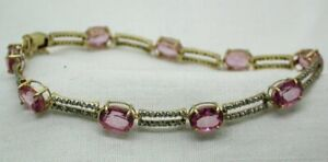 Beautiful Two Colour 9 Carat Gold Pink Topaz And Diamond Bracelet