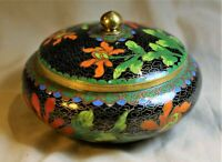 Low Covered Black Chinese Cloisonne Pot Profusely Decorated with Flowers c. 1950
