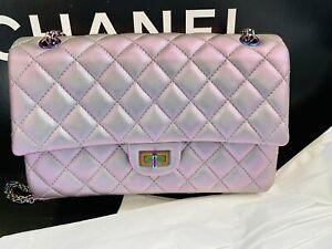 Chanel Metallic Iridescent purple Reissue old medium rainbow chain NEW rare