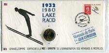 ENVELOPPE OFFICIELLE MONNAIE DE PARIS JO 1992 ALBERTVILLE 1932 - 80 LAKE PLACID