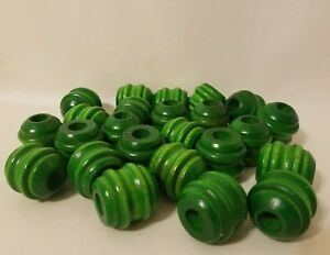 """Lot of 24 Large Green Wood Carved Grooved Macrame Craft Beads 1"""" Inch 24mm"""