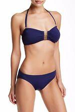 New VINCE CAMUTO Sz L Navy Blue Solids Classic Bikini Bottom