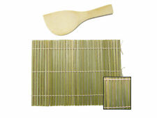 "Japanese Bamboo Sushi Mat With / Rice Paddle Spoon Set Hand Roll 7"" x 5"" JW"