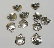 50 HELLO KITTY CAT CHARMS PENDANTS ANTIQUE TIBETAN SILVER JEWELLERY MAKING