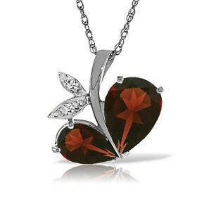 Genuine Garnet Red Gemstone Diamond 14K Solid Gold Necklace Pendant 4.00 CTW