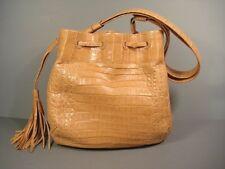 Nancy Gonzalez Beige Crocodile Medium Handbag Purse Satchel Tote Authentic New