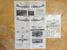 """OA-10A/PBY-5A CATALINA """"2 USNAVY/RESCUE/SNAFU SNATCHERS"""" PRO-MODELER DECALS 1/48"""