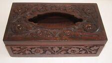 Handmade Wooden Tissue box Holder Rosewood Full Carved Timber Rectangle Shape#17