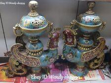 23'' Cloisonne Enamel Bronze Fengshui Dragon Phoenix Incense Burner Censer Pair