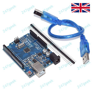 """Arduino UNO R3 5v / 16Mhz With USB Cable & 32x 0.1"""" Pin Headers - UK TESTED"""