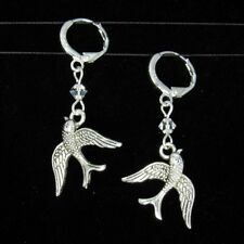 *SJ1* 3D Swallow Bird Charm Sterling Silver Dangle Earrings w/ Upick Swarovski