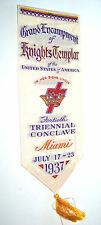 1937-GRAND ENCAMPMENT OF KNIGHTS TEMPLAR TRI CONCLAVE MIAMI SOUVENIER BOOKMARK