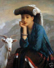 "Art Repro oil painting:""Woman and Goat at canvas"" 24x36 Inch"