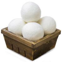 (6-Pack) Wool Dryer Balls Natural Fabric Softener 100% Organic, Chemical Free!