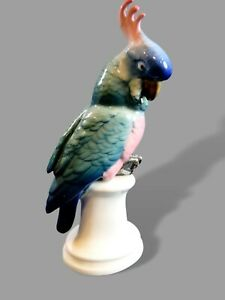 Ens Porzellan Papagei / Kakadu 30er Jahre Art Deco grüner Stempel