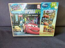 Cardinal Disney 3~Pack Wood 24 Pc Puzzles w/ Storage Box Cars/Toy Story