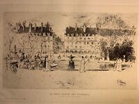Gustave Leheutre gravure eau forte etching Le Petit Bassin Jardin Des Tuileries