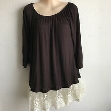 WOMENS top 2B Together Lace Sleeve Tunic  DressTop  Sz  MED