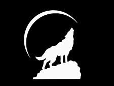WOLF ON ROCK WITH MOON Vinyl Decal Car Wall Truck Sticker CHOOSE SIZE COLOR
