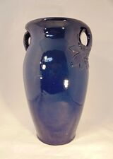 "1930s Robinson Ransbottom 14"" Blue Floor Vase Leaf Berry Handles Sand Oil Jar OH"