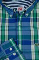 Lacoste Men's Blue Green White Check Luxury Cotton Casual Shirt L Large