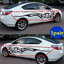 1pair Car Body Side Door Vinyl Decal Sticker Black Flame Graphics Racing Stripes