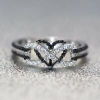 925 Silver Heart Infinity White Topaz Woman Jewelry Engagement Ring Gift Sz6-10