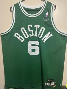 RARE Bill Russell Reebok BOSTON CELTICS Jersey Size XXL #6 Length +2 2XL 🏀🔥