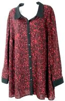 Catherines Black & Red Button Down Shirt Plus Size Top 2X 22 24 New