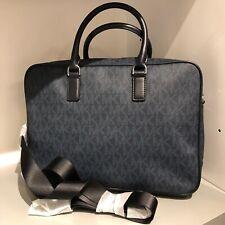 Michael Kors Mens Briefcase Shoulder Bag Leather PVC Messenger Laptop Bag Blue