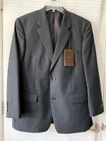 Tasso Elba Mens Gray Stripe 100% Wool Two Button Suit Jacket Size 43R - NWT