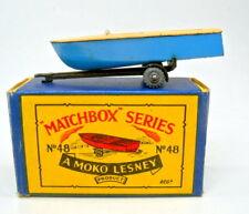 "Matchbox RW 48a Meteor boat & tráiler Braun & azul en ""B"" Box"
